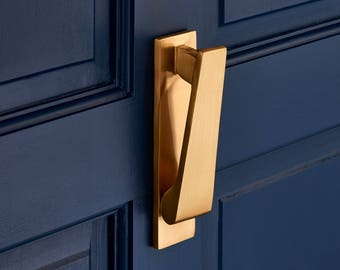 Slim Brushed Brass Door Knocker