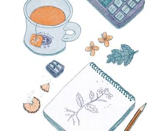Tea Break risograph art print