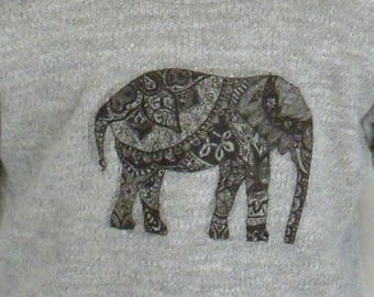 18 inch Doll Long Sleeved Heather Gray Tee W/Ethnic Elephant Design