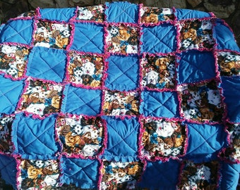 Puppies For Her Blanket Ragged Quilt/ ragged Blanket/ Handmade Gift