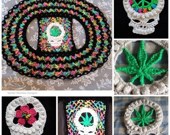 PD 420 Skull Circle Vest With 3 Options Pot Leaf, Flower, or Peace Sign