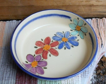 Wildflower garden ceramic serving plate - handmade pottery plate - pottery serving plate - ceramic shallow bowl - tallpinespottery -110804