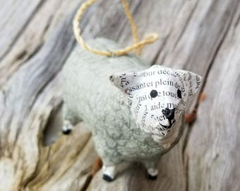 Handmade Up-cycled Paper Mache Sheep Christmas Ornament
