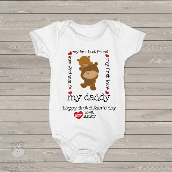 First Fathers Day daddy baby boy bear matching shirt and bodysuit gift set - great gift for Fathers Day MDF-098 ZRmMLZSKP