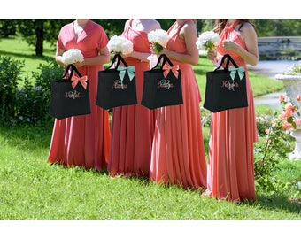 1 Bridesmaid tote bags , bridesmaid gifts , tote bag , beach bag , bachelorette party gift ,wedding bag , wedding tote bags