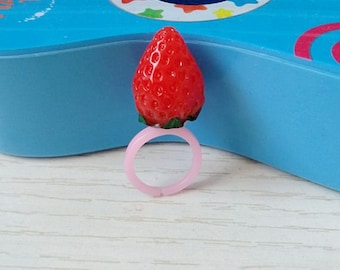 16x20 mm red strawberry ring,cut ring.,little girl ring,flower girl ring,baby ring,kid ring,children ring,flower shaple ring,Adjustable ring