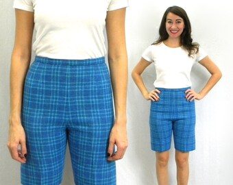 60s Blue Plaid Wool Bermuda Shorts |  Small