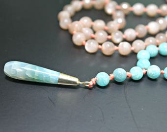 Amazonite and Peach Moonstone Mala Necklace Hand Knotted Mala Necklace