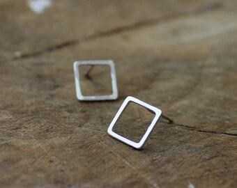 Square earrings sterling silver earrings geometric earrings simple earrings handmade earrings square studs - amejewels