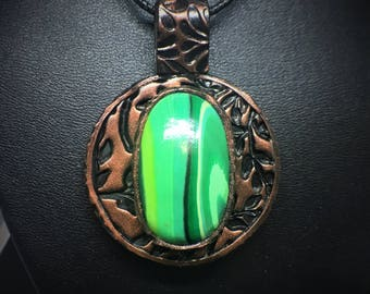 Faux Malachite Copper Pendent With Imprinted Leaf Accents  Polymer Clay Pendent