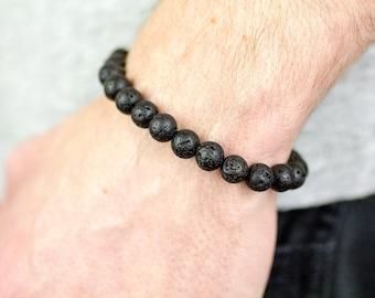 Black Lava Stone Bracelet, Lava Bead Bracelet, Black Lava Bracelet, Mens Lava Bracelet, Lava Rock Bracelet, Mens Beaded Bracelet, Lava Rock