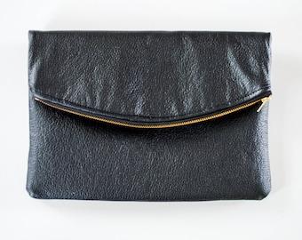 Fold Over Clutch - Faux Leather Clutch - Black Clutch - Oversized Clutch - Zipper Clutch - Clutch Bag - Solid Black Clutch