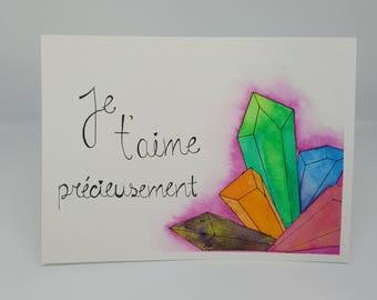 Watercolor gemstone, Valentine, love greeting card