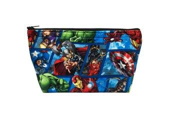 Marvel's The Avengers Print Go Bag // Makeup Bag // Cosmetic Organizer // Travel Organizer // Toiletry Organizer // Ready To Ship