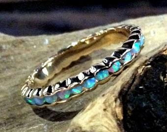 Eternity ring, turquoise stones band, Solid Rose gold band, thin band,  wedding band, gemstones ring, turquoises ring, rose gold ring RG0911