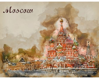 Moscow Russia Travel Poster Watercolor Art Print Retro Home Decor WB27