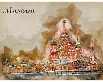 Moscow Russia Travel Poster Watercolor Art Print Retro Home Decor WB27