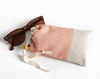 Padded Sunglasses Case with Cleaning Cloth, Glasses Case in Nectarine by Made on Main VT, Gifts for her under 30