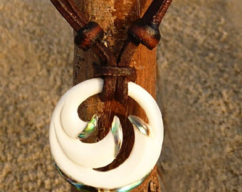 Surfer Chain Leather Necklace Koru Surfer Necklace Leather Jewelry Handmade by ©chimuwaves