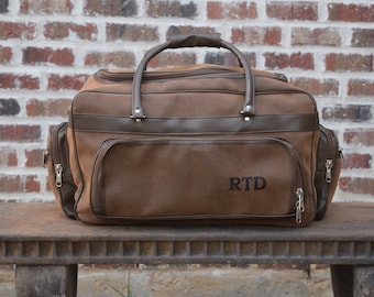 Personalized Mens Leather Bag, Groomsman Gift, leather tote, gym bag, carry on, leather duffle bag, groomsmen gift,