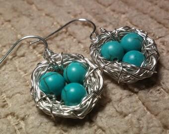 Birds Nest Earrings Sterling Silver