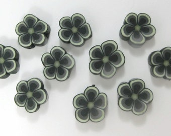 12mm Fimo Polymer Clay Black Flower Beads