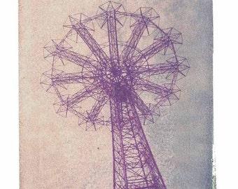 Polaroid Transfer of Parachute Retro Coney Island Art Photography-11x14