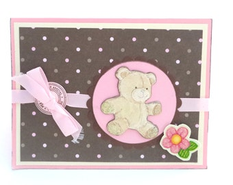 Clearance Baby Shower Greeting Card, New Baby Card, New Arrival Card, Baby Girl Card, Bear Baby Card