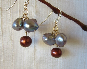 Grey and Bronze Pearl 14K Gold Filled Handmade Earrings