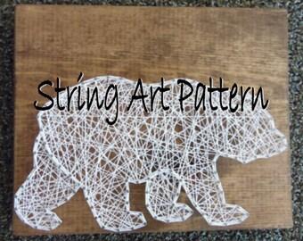 Bear String Art Pattern, String Art Pattern, Bear Art Pattern, String Art Bear Pattern, DIY Bear String Art, DIY Bear String Art Pattern