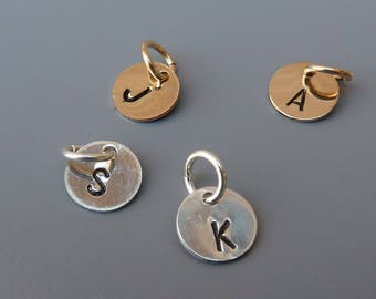Tiny Initial Charm, Alphabet Charm, Add On Charm, Silver Initial,Gold Initial,Necklace Charm,Bracelet Charm,Personalized Gift, Gift For Her