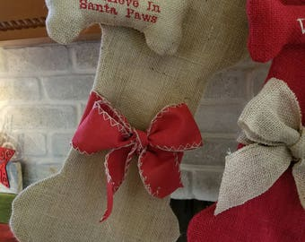 Burlap, Bones, and Bows Stocking and matching ornament