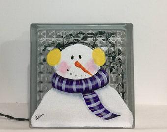 Glass Block Light-Snowman with ear muffs