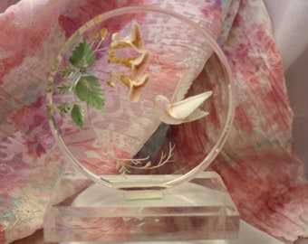 Vintage Acrylic Humming Bird with Floral