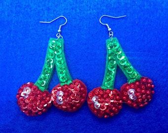 """Little Cherry Earrings Handbeaded 2 x 2"""""""