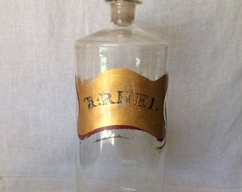 "Antique 1880's ""TR:RHEI"" Pontil Apothecary Bottle"