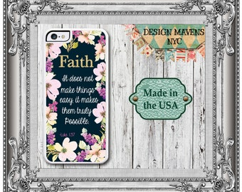 Floral Bible Quote iPhone Case, Floral iPhone 6, Faith Luke 1:37, iPhone 4, 4s, iPhone 5, 5s, 5c, iPhone 6, 6s, 6 Plus, Scripture Phone Case