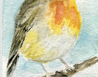 ACEO Original, Watercolor Art, Painting,Robin, Blue Sky, Illustration, Songbird, Small Gift, Birdlovers