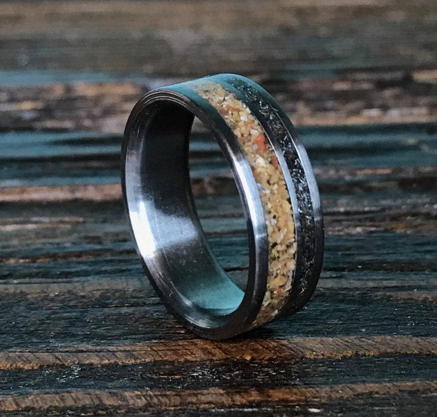 Titanium Ring Meteorite Ring Petrified Wood Ring Mens Ring