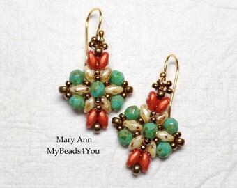 Beaded Earrings, Beadwoven Earrings, Turquoise Earrings, SuperDuo Beads, Seed Bead Earrings, Beaded Jewelry, Drop Earrings, MyBeads4You