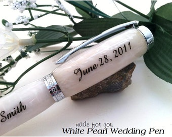 Personalized White Pearl Wedding Guest Book Pen - Crafted Just For You - Free Engraving