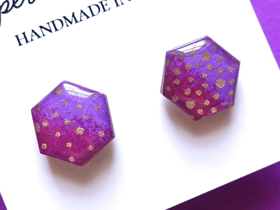 Purple Earrings, Hexagon Earrings, Geometric Earrings, Earring Studs, Japanese Paper Earrings, Chioygami Jewelry, Hypoallergenic