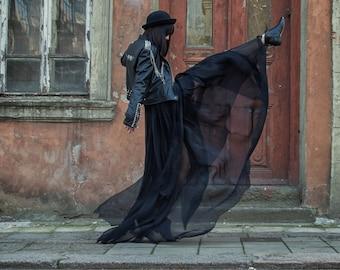 Long Chiffon Skirt/ Paradox / Loose Skirt/ Maxi Festival Skirt/ Black Skirt/ Extravagant Clothing/ Boho Skirt/ Sheer Skirt/ PP0015