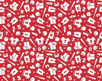 SALE!   Fabric by the Yard - Fat Quarter - Quilt Fabric - Riley Blake Fabric - Red Uniform - Baseball Fabric - Red Sports Fabric