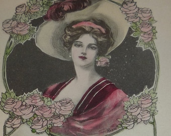 New Lisiting A/S Haass Pretty Woman Hand-painted New Year Antique Pink of Perfection Postcard