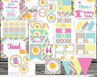 DIY Printable Party Package -Sunshine- Sun -Baby Shower -Banner -Favor Tags -Tent Cards -Cupcake Toppers -You are my sunshine
