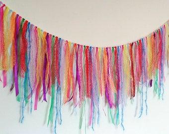 Gypsy boho rainbow pride multicolour lace ribbon bunting garland pinata curtain shabby decor party festival mexican bright exotic llama