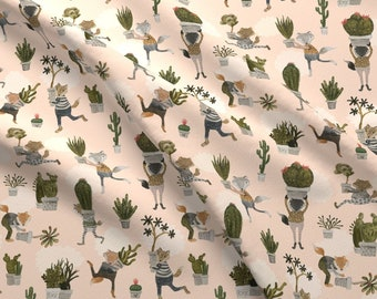 Succulent Snatchers Fabric - The Succulent Snatchers By Katherine Quinn- Succulents Foxes Thieves Cotton Fabric By The Yard With Spoonflower