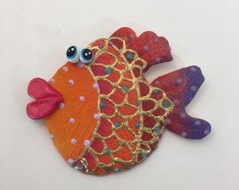 Whimsical wall hanging Fish, underwater fish room decor,Beach theme,  fun wall art, colorful, whimsical, handmade fish art