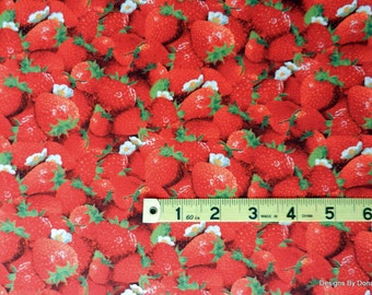 One Half Yard Cut Quilt Fabric, Red Juicy Strawberries/White Blossoms/Green Leaves, Patty Reed, Elizabeth Studio, Sewing-Quilting Supplies